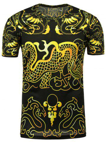 Hot Short Sleeve Totem Print Tee - XL BLACK Mobile