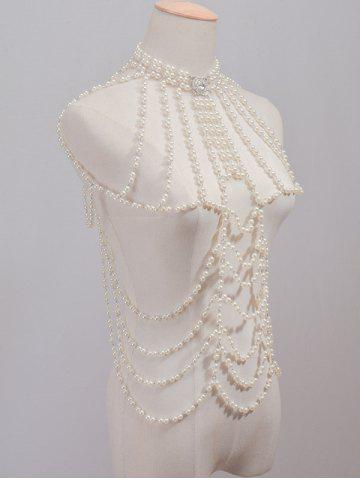 Store Rhinestone Faux Pearl Beaded Beach Full Body Jewelry Chain - WHITE  Mobile