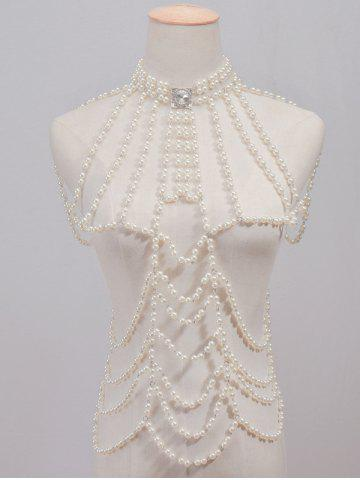 White Rhinestone Faux Pearl Beaded Beach Full Body Jewelry