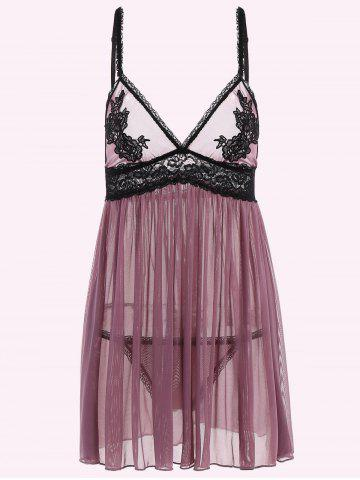 See-Through Lace High Waist Babydoll Sleepwear - Purple - M