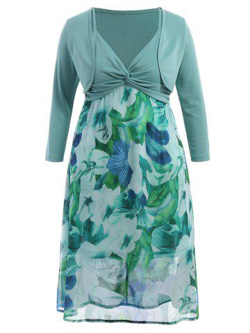 Outfit Plus Size Midi Flower Dress With Jacket LIGHT GREEN 6XL