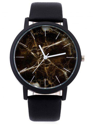 New Faux Leather Marble Face Watch BROWN