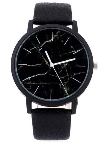 Trendy Faux Leather Marble Face Watch BLACK