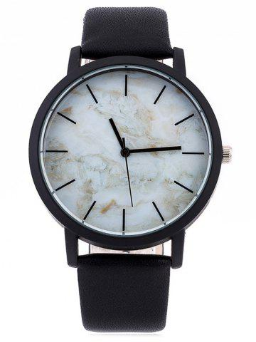 Sale Faux Leather Marble Face Watch WHITE