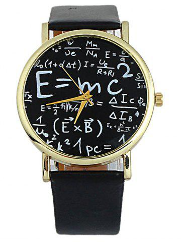 Online Faux Leather Math Equation Watch BLACK