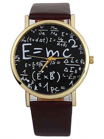 Latest Faux Leather Math Equation Watch BROWN