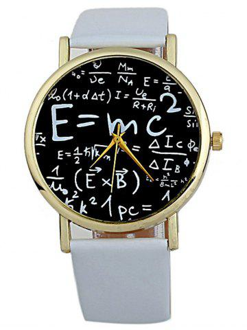 Outfits Faux Leather Math Equation Watch WHITE
