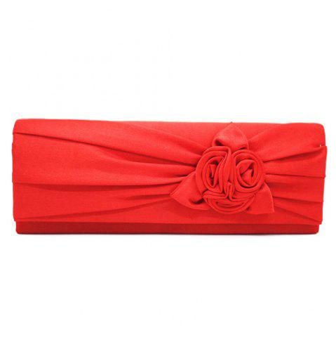 Online Satin Flower Evening Clutch Bag - RED  Mobile