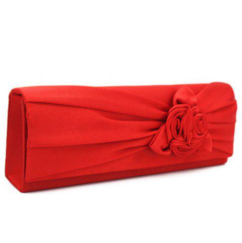 Latest Satin Flower Evening Clutch Bag - RED  Mobile