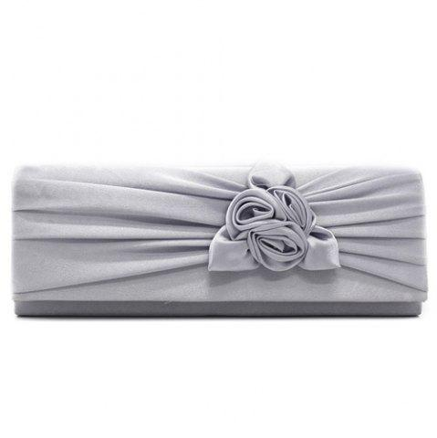 Latest Satin Flower Evening Clutch Bag - GRAY  Mobile