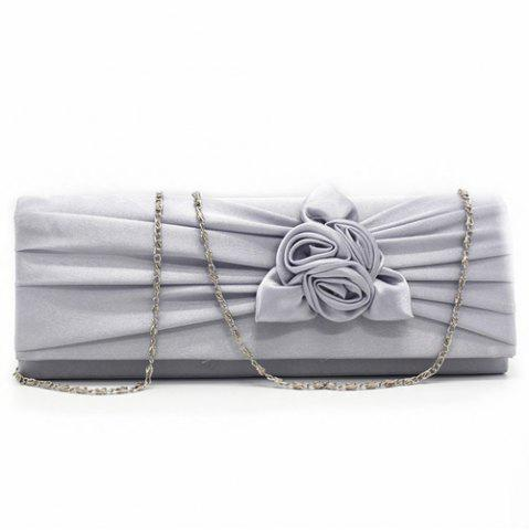 Hot Satin Flower Evening Clutch Bag - GRAY  Mobile