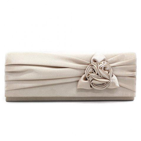 Affordable Satin Flower Evening Clutch Bag APRICOT