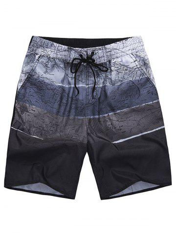 Chic All Over City Print Drawstring Shorts - XL COFFEE Mobile
