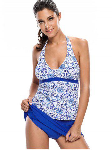 Latest Printed Halter Tankini Set - M BLUE Mobile