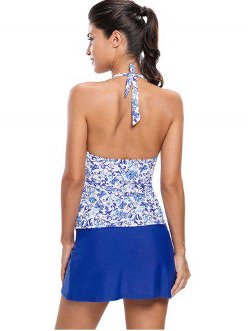 Trendy Printed Halter Tankini Set - M BLUE Mobile