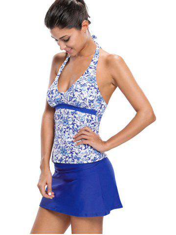 New Printed Halter Tankini Set - M BLUE Mobile