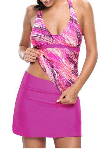 Affordable Printed Halter Tankini Set - S ROSE RED Mobile