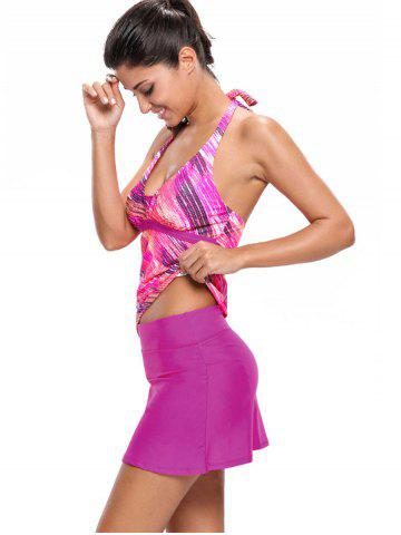 Outfits Printed Halter Tankini Set - XL ROSE RED Mobile