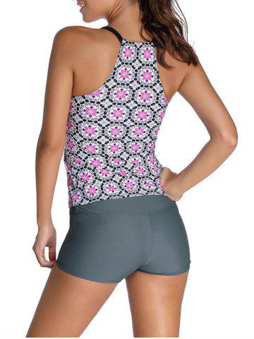 Outfit Floral Racerback Padded Spaghetti Strap Tankini Set - XL GRAY Mobile
