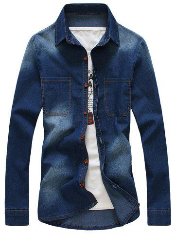 Outfit Turndown Collar Bleach Wash Denim Shirt With Pockets - XL DEEP BLUE Mobile