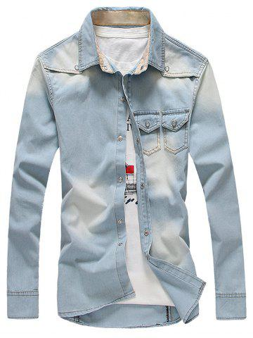 Bleach Wash Pockets Design Long Sleeve Light Denim Shirt