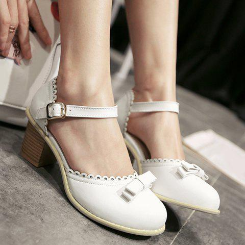 Scalloped Faux Leather Bow Pumps - WHITE 38