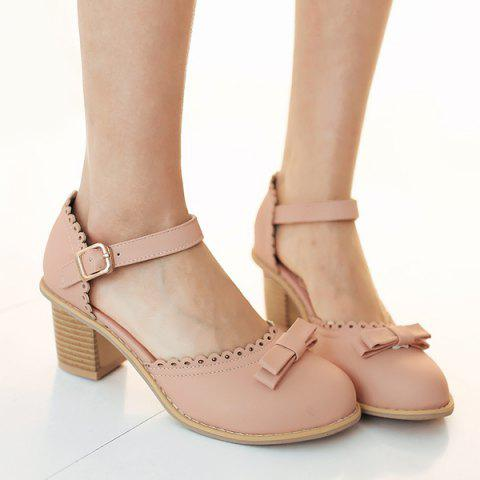 Trendy Scalloped Faux Leather Bow Pumps PINK 37