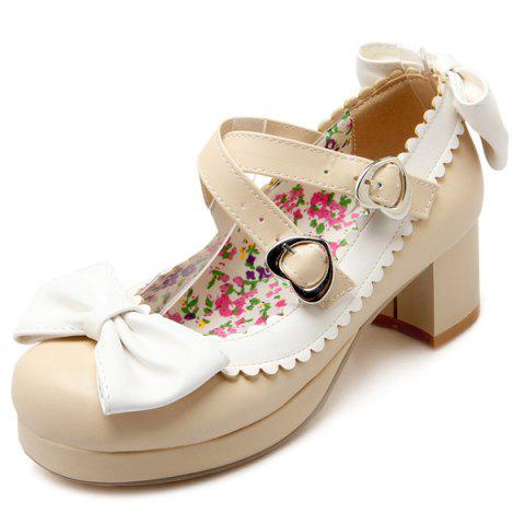 Shop Double Buckle Strap Scalloped Pumps BEIGE 39