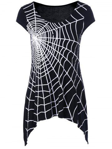 Latest Spider Web Cap Sleeve T-Shirt WHITE/BLACK 2XL