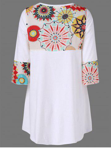 Trendy High Low Hem Graphic Longline T-Shirt - XL WHITE Mobile