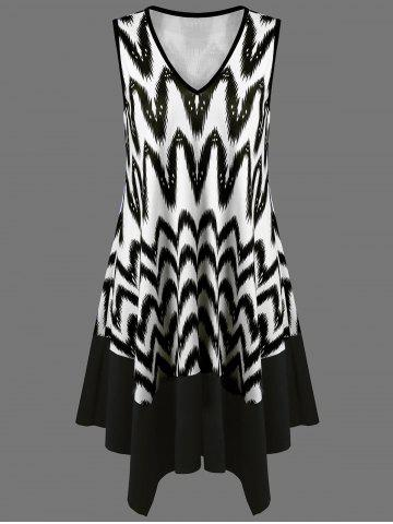 Affordable Zigzag Asymmetrical Casual Tank Dress Fashion WHITE AND BLACK XL