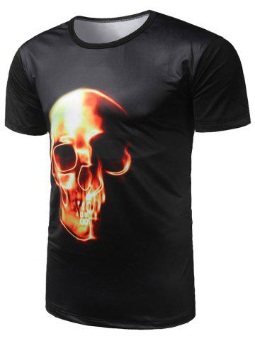 Sale Skull Print Cool Tee - M BLACK Mobile