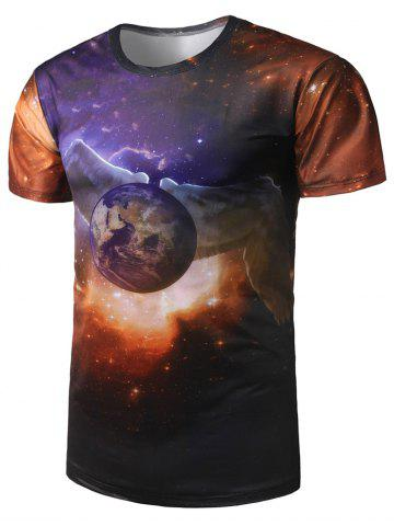 Discount Wing Earth Print Galaxy Tee - 2XL COLORMIX Mobile
