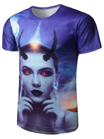 Outfit Short Sleeve Devil Print Tee - 2XL BLUE Mobile