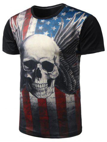 Unique Skull Print Distressed American Flag T Shirt  - L BLACK Mobile