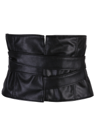 Long Strappy PU Leather High Waist Corset Belt - BLACK