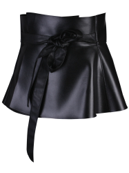 Bowknot Tail PU Leather High Waist Peplum Obi Belt - BLACK