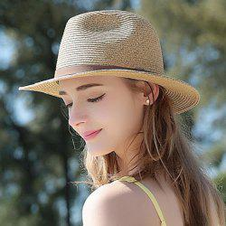 UV Protection Beach Straw Hat with Faux Suede Strap