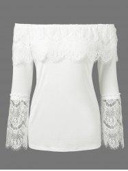 Off The Shoulder Lace Trim Overlay Blouse