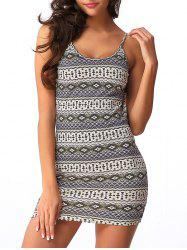 Backless Graphic Sleeveless Short Bodycon Dress