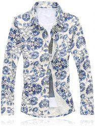 Blue and White Porcelain Floral Shirt