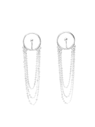 Alloy Circle Fringed Chain Drop Earrings