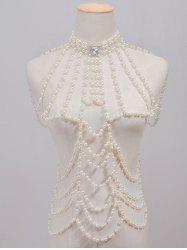 Rhinestone Faux Pearl Beaded Beach Full Body Jewelry Chain - WHITE
