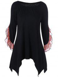 Leopard Trim Flounced Asymmetrical T-Shirt