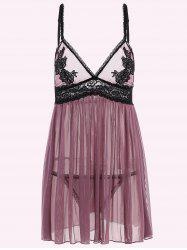 See-Through Lace High Waist Babydoll Sleepwear