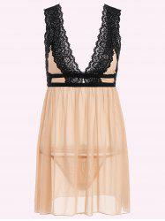 Low Cut See-Through Lace Sleepwear Trim Babydoll
