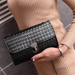 Woven Push Lock Cross Body Bag