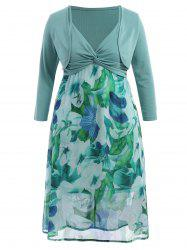 Plus Size Midi Floral Slip Dress With Jacket