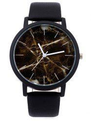 Faux Leather Marble Face Watch