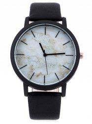 Faux Leather Marble Face Watch - WHITE